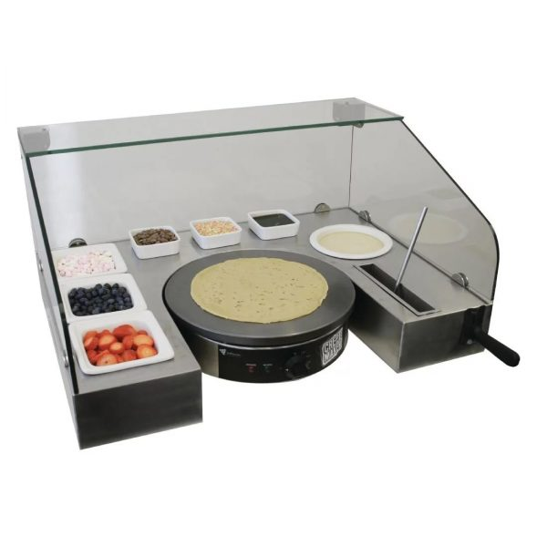 crepe serving station over counter view, great for streep trading