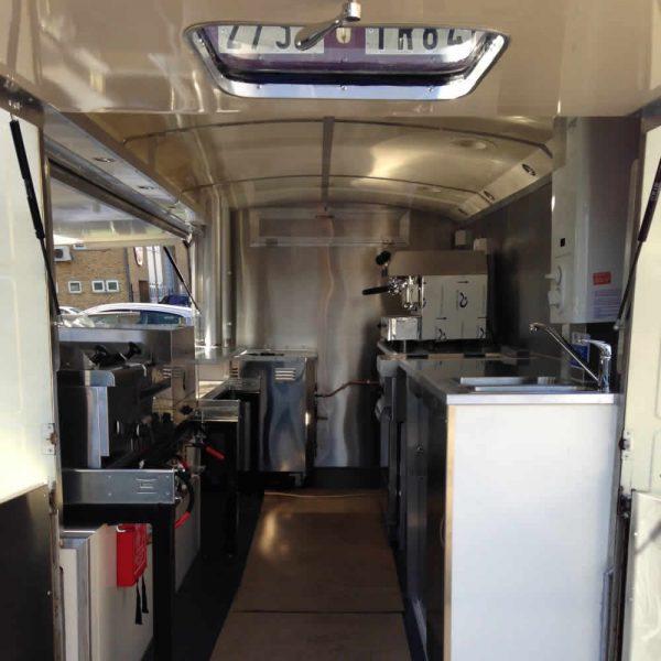 catering van conversions inside kitchen vintage