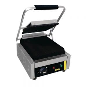 single-bistro-contact-grill-opne-ribbed catering equipment