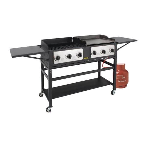 propane-6-burner-combi-BBQ-grill-and-griddle lpg gas bottle